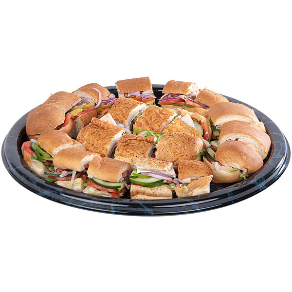 "Sabert 818 18"" Black Marble Round Catering Tray - 36/Case"
