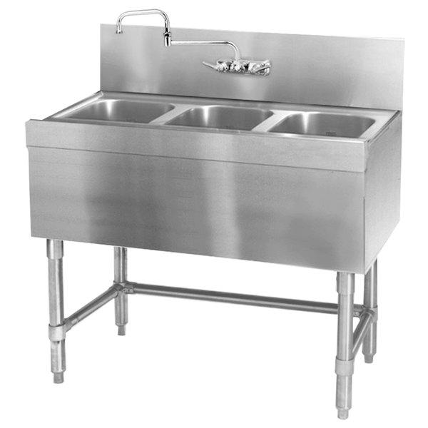 "Eagle Group B3-3-24 Spec-Bar 36"" x 24"" 20 Gauge Three Bowl Stainless Steel Underbar Sink"