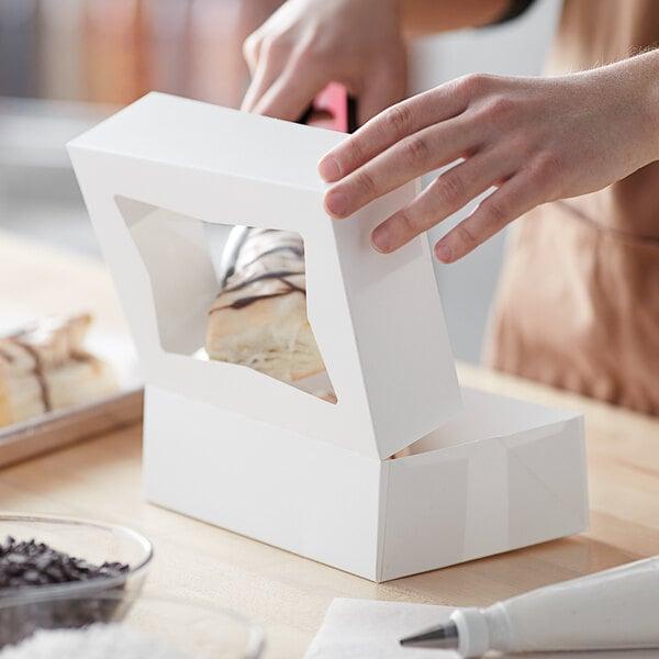 "Baker's Mark 8"" x 5 3/4"" x 2 1/2"" White Auto-Popup Window Cake / Bakery Box - 200/Bundle Main Image 5"
