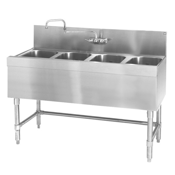 "Eagle Group B4-4-24 Spec-Bar 48"" x 24"" 20 Gauge Four Bowl Stainless Steel Underbar Sink"