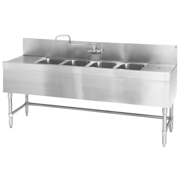 """Eagle Group B7RL-4-24 Spec-Bar 84"""" x 24"""" 20 Gauge Four Bowl Stainless Steel Underbar Sink with (2) 18"""" Drainboards"""
