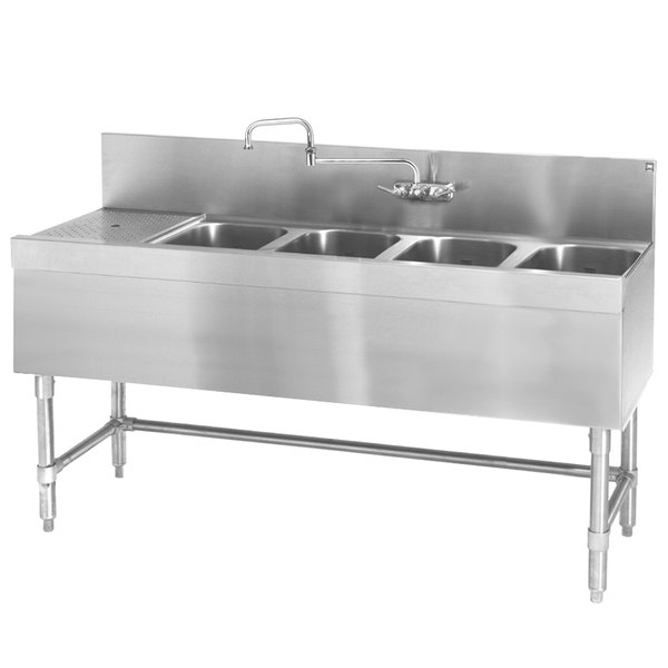 """Eagle Group B5.5L-4-24 Spec-Bar 66"""" x 24"""" 20 Gauge Four Bowl Stainless Steel Underbar Sink with 18"""" Left Drainboard"""