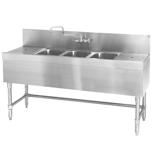 """Eagle Group B7-3-LR-24 Spec-Bar 84"""" x 24"""" 20 Gauge Three Bowl Stainless Steel Underbar Sink with (2) 24"""" Drainboards"""