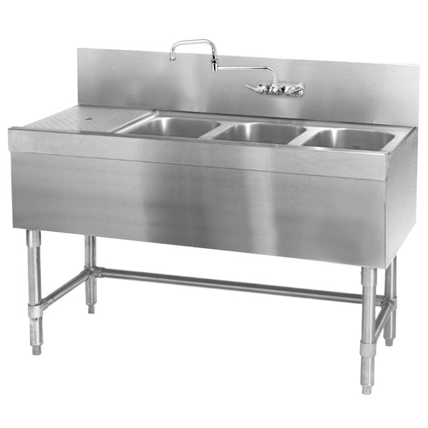 "Eagle Group B5.5-3-L-19 Spec-Bar 66"" x 19"" 20 Gauge Three Bowl Stainless Steel Underbar Sink with 30"" Left Drainboard"