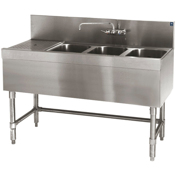 """Eagle Group B4-3-L-19 Spec-Bar 48"""" x 19"""" 20 Gauge Three Bowl Stainless Steel Underbar Sink with 12"""" Left Drainboard"""