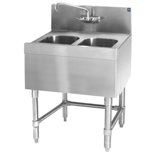 """Eagle Group B2-2-24 Spec-Bar 24"""" x 24"""" 20 Gauge Two Bowl Stainless Steel Underbar Sink"""