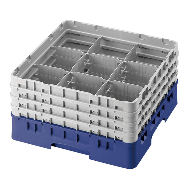 "Cambro 9S1114168 Blue Camrack Customizable 9 Compartment 11 3/4"" Glass Rack"