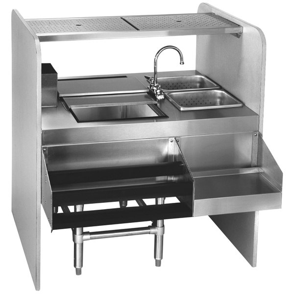 """Eagle Group CS42-32L Spec-Bar 42"""" Stainless Steel Cocktail Station with Ice Bin on Left"""