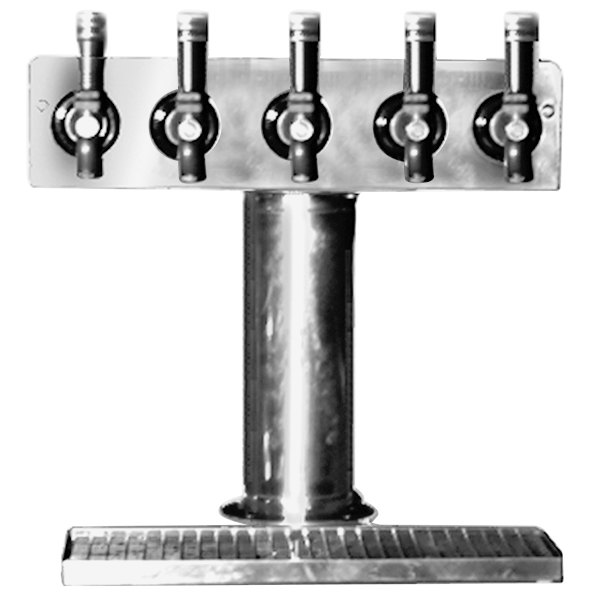 "Eagle Group BT5S-DT Spec-Bar Stainless Steel Air Cooled 5 Tap Tower with Drip Tray - 3"" Column"