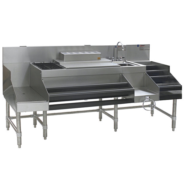 """Eagle Group CCS-72 Spec-Bar 72"""" Stainless Steel Combination Cocktail Station with 12"""" Liquor Display and Recessed Workboard"""