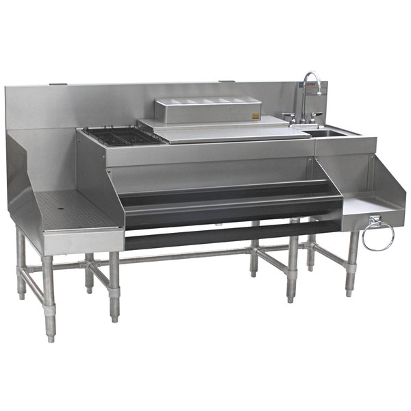 """Eagle Group CCS-66-3 Spec-Bar 66"""" Stainless Steel Combination Cocktail Station with 18"""" Recessed Workboard Main Image 1"""