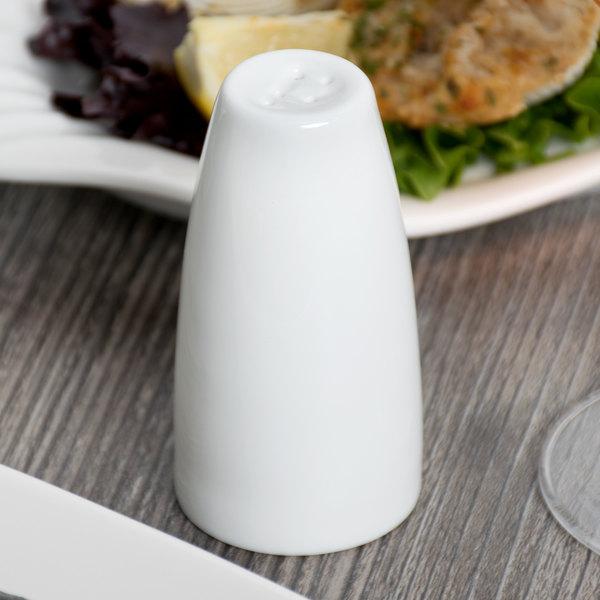 Syracuse China 911197037 Slenda 2.5 oz. Royal Rideau White Porcelain Pepper Shaker - 36/Case