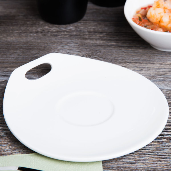"Syracuse China 905356119 Slenda Practica 6"" x 5 5/8"" Royal Rideau White Porcelain Saucer - 36/Case"