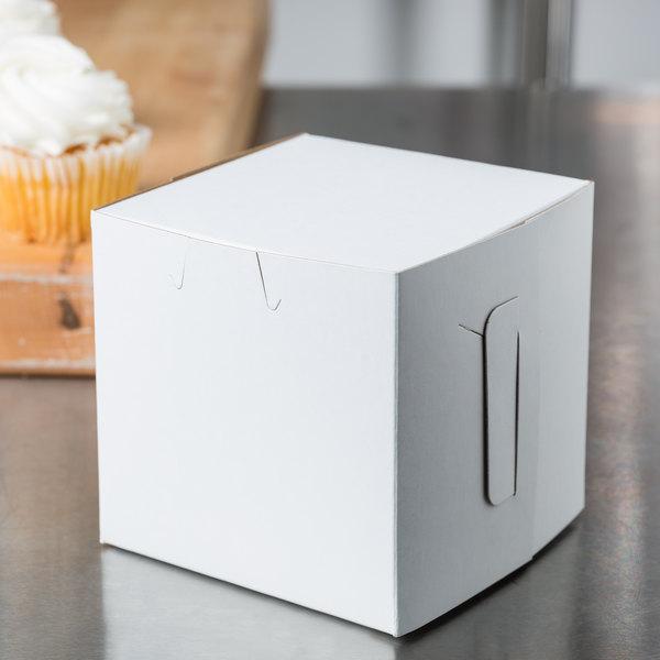 """Southern Champion 0907 4"""" x 4"""" x 4"""" White Cupcake Box - 200/Case"""