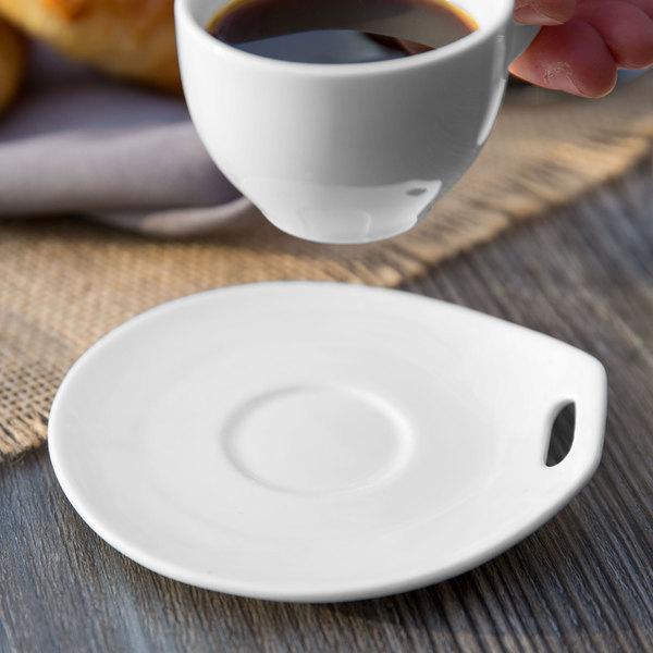 "Syracuse China 905356120 Slenda Practica 4 3/4"" x 4 1/2"" Royal Rideau White Porcelain Saucer - 36/Case"