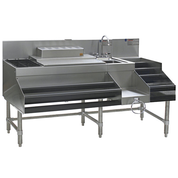 "Eagle Group CCS-72-1 Spec-Bar 72"" Stainless Steel Combination Cocktail Station with 18"" Liquor Display"