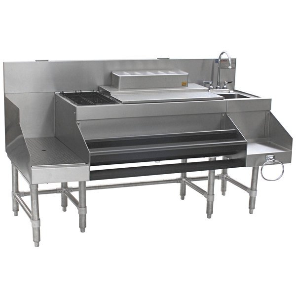 """Eagle Group CCS-66-2 Spec-Bar 66"""" Stainless Steel Combination Cocktail Station with 12"""" Recessed Workboard Main Image 1"""