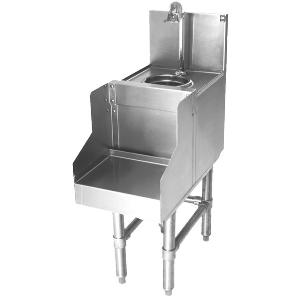 """Eagle Group BWBS12-19 Spec-Bar Stainless Steel Underbar Blender Station with Round Wet Waste Sink and Glass Filler Faucet - 12"""" x 24"""""""