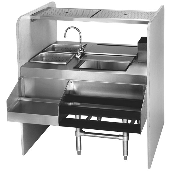 "Eagle Group CS42-32R Spec-Bar 42"" Stainless Steel Cocktail Station with Ice Bin on Right"