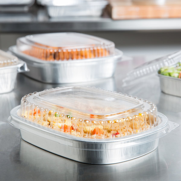 Durable Packaging 9331-SL-100 23.3 oz. Smooth Silver Small Entree / Take Out Pan with Dome Lid - 100/Case Main Image 5