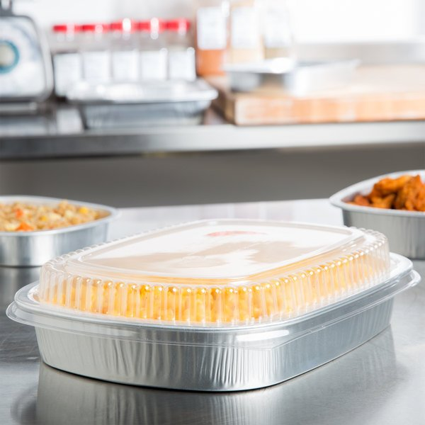 Durable Packaging 9553-SL-50 65.6 oz. Smooth Silver Large Entree / Take Out Pan with Dome Lid - 50/Case Main Image 5