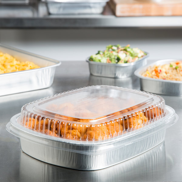 Durable Packaging 9442-SL-50 47.4 oz. Smooth Silver Medium Entree / Take Out Pan with Dome Lid - 50/Case Main Image 5