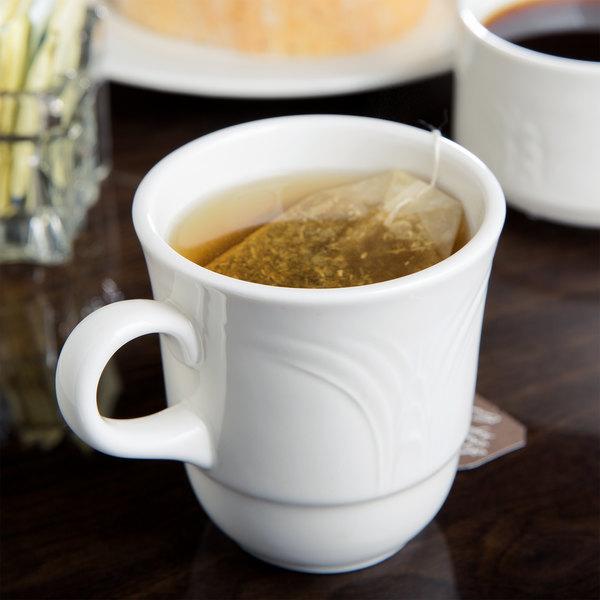 Syracuse China 950041111 Cafe Royal 7 oz. Royal Rideau White Tall Porcelain Tea Cup - 36/Case