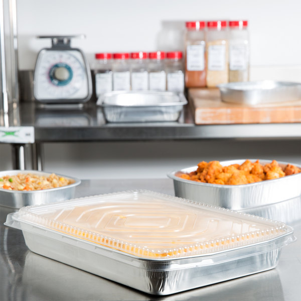 Durable Packaging 9664-SL-25 108 oz. Smooth Silver Extra Large Entree / Take Out Pan with Dome Lid - 25/Case Main Image 5