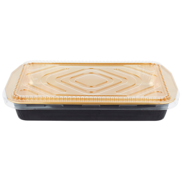 Durable Packaging 9664-PT-25 108 oz. Black Diamond and Gold Extra Large Foil Entree / Take Out Pan with Dome Lid - 25/Case