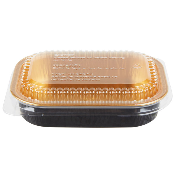 Durable Packaging 9220-PT-100 16 oz. Black Diamond and Gold Mini Foil Entree / Take Out Pan with Dome Lid - 100/Case