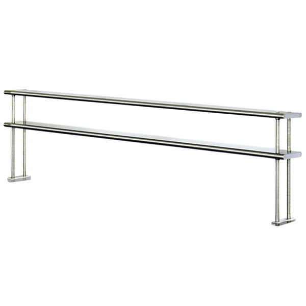 "Eagle Group DOS12144-16/4 Table Mount Type 430, 16 Gauge Stainless Steel Double Overshelf - 144"" x 12"" x 30"" Main Image 1"