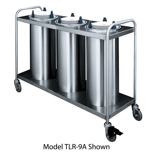 "APW Wyott HTL3-9 Trendline Mobile Heated Three Tube Dish Dispenser for 8 1/4"" to 9 1/8"" Dishes - 208/240V"