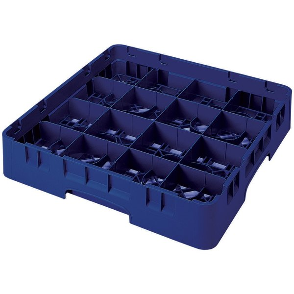 """Cambro 16S1058186 Camrack 11"""" High Customizable 16 Navy Blue Compartment Glass Rack Main Image 1"""