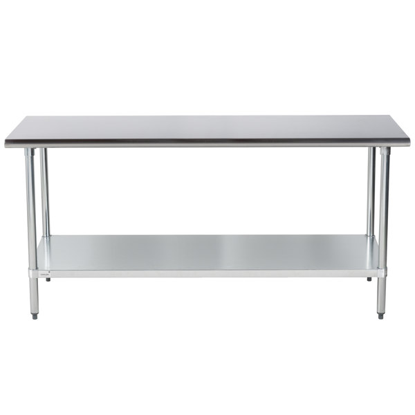"""Advance Tabco ELAG-306-X 30"""" x 72"""" 16 Gauge Stainless Steel Work Table with Galvanized Undershelf"""