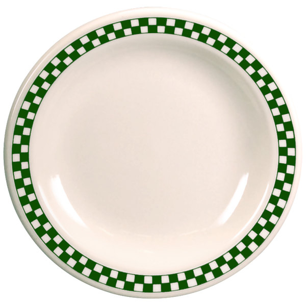 """Homer Laughlin 2081708 Green Checkers 11 1/8"""" Ivory (American White) Rolled Edge Plate - 12/Case"""