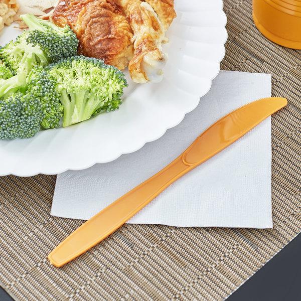 "Creative Converting 323398 7 1/2"" Pumpkin Spice Orange Heavy Weight Plastic Knife - 288/Case Main Image 2"