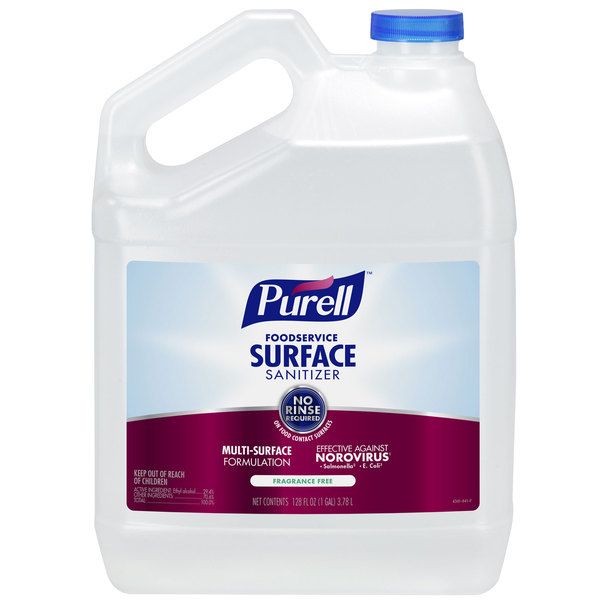 Purell 4341-04 1 Gallon / 128 oz. Fragrance Free Foodservice Surface Sanitizer - 4/Case