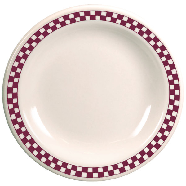 """Homer Laughlin 2051791 Maroon Checkers 9"""" Ivory (American White) Rolled Edge Plate - 24/Case"""