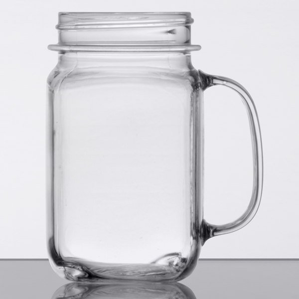 Get Plastic Mason Jar Cups With Handles 16 Oz 24 Case