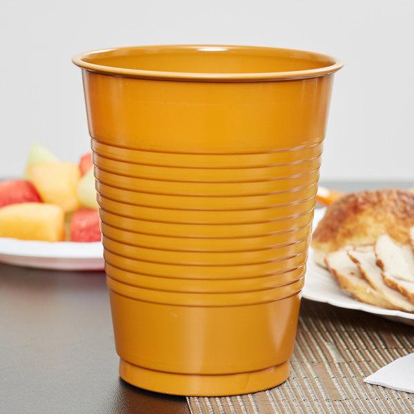 Creative Converting 323389 16 oz. Pumpkin Spice Orange Plastic Cup - 240/Case Main Image 2