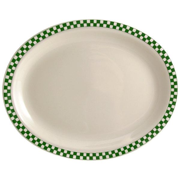 "Homer Laughlin 2581708 Green Checkers 7 3/4"" x 5 5/8"" Ivory (American White) Narrow Rim Oval Platter - 36/Case"