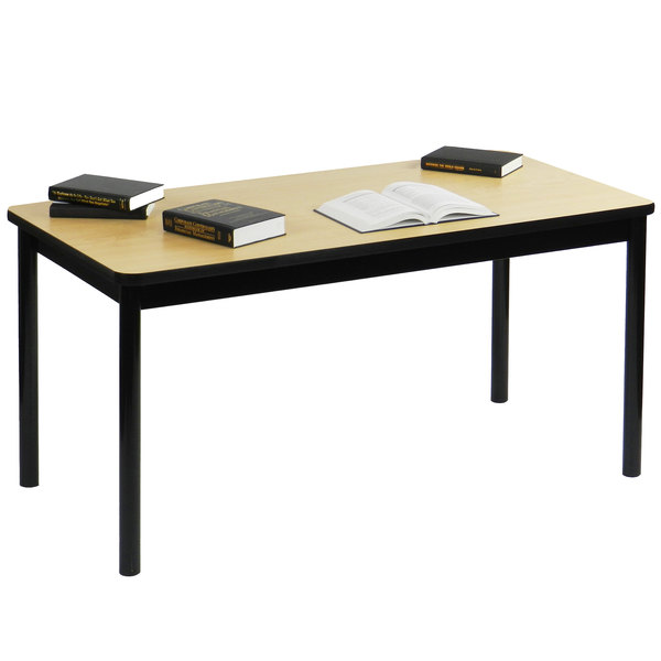 """Correll LR2448-16 24"""" x 48"""" Fusion Maple Library Table - 29"""" Height"""
