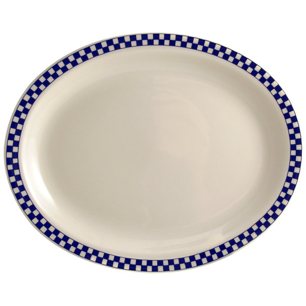 "Homer Laughlin 1551790 Cobalt Checkers 11 3/4"" x 8"" Ivory (American White) Rolled Edge Oval Platter - 12/Case"
