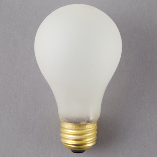 Satco S3932 100 Watt Frosted Shatterproof Finish Incandescent Rough Service Light Bulb -130V (A19) Main Image 1
