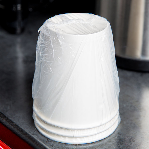 Lavex Lodging 10 oz. White Individually Wrapped Paper Hot Cup - 480/Case