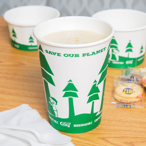 EcoChoice 32 oz. Compostable and Biodegradable Paper Soup / Hot Food Cup with Tree Design - 25/Pack Main Image 2