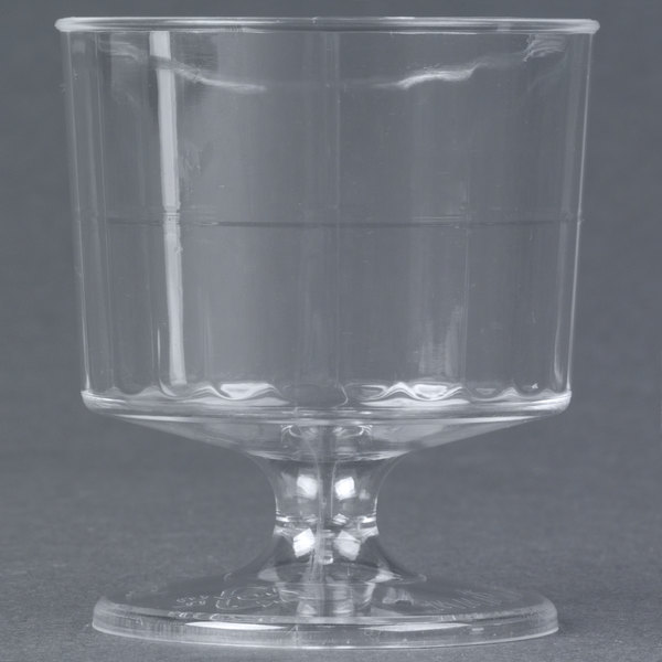 WNA Comet CCW2240 Classicware 2 oz. Clear Plastic Pedestal Wine Cup - 10/Pack