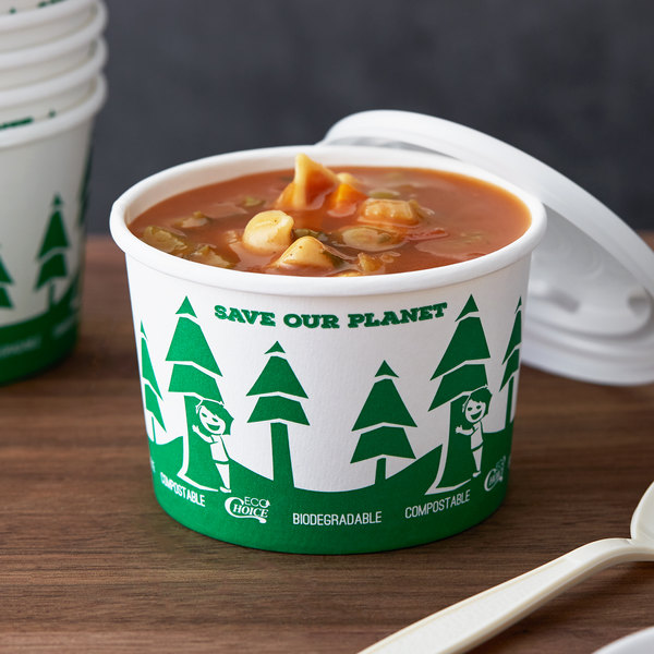 EcoChoice 8 oz. Compostable and Biodegradable Paper Soup / Hot Food Cup with Tree Design - 25/Pack Main Image 2
