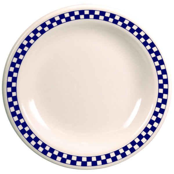 """Homer Laughlin 2071790 Cobalt Checkers 10 5/8"""" Ivory (American White) Rolled Edge Plate - 12/Case"""