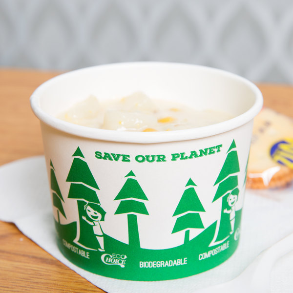 EcoChoice 8 oz. Compostable and Biodegradable Paper Soup / Hot Food Cup with Tree Design - 500/Case